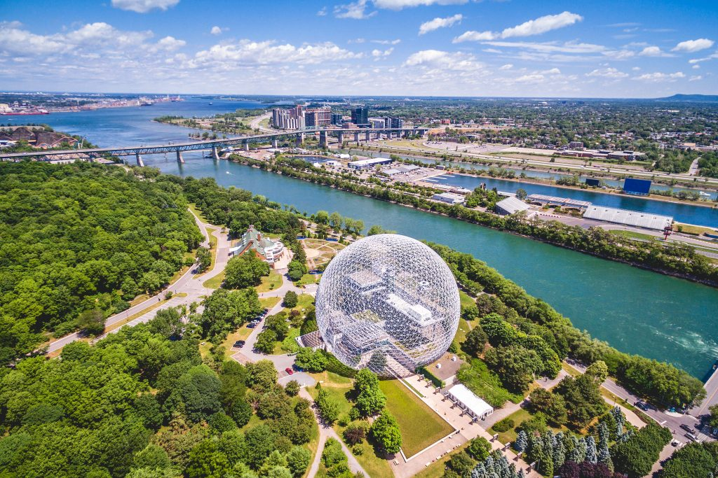 Montreal Aerial view of Parc Jean-Drapeau, sunny day, summer.